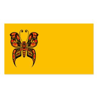 Mariposa roja del alcohol del Haida en amarillo Tarjetas De Visita