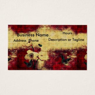 Mariposa roja sangre envejecida gótica de la tarjeta de negocios