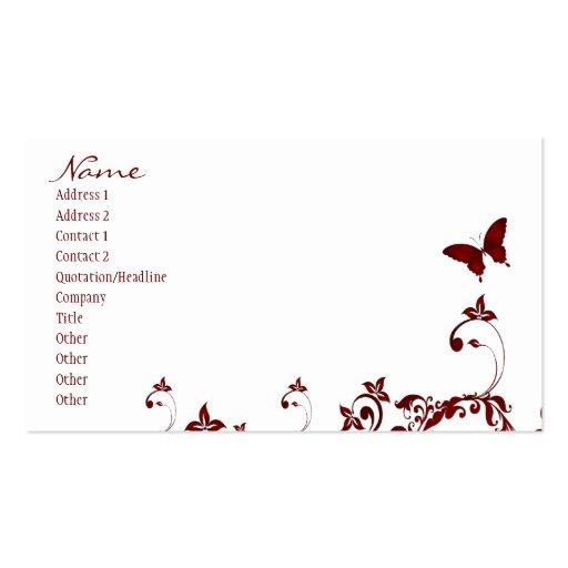 Mariposa roja plantilla de tarjeta de negocio