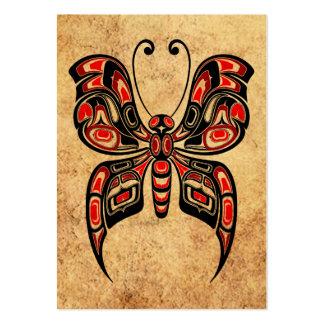 Mariposa roja y negra envejecida del alcohol del tarjetas de visita grandes