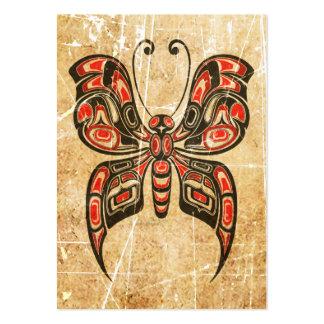 Mariposa roja y negra rasguñada del alcohol del tarjetas de visita grandes