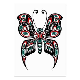 Mariposa roja y verde del alcohol del Haida en Tarjetas De Visita Grandes