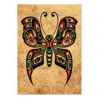 Mariposa roja y verde envejecida del alcohol del tarjetas de visita grandes