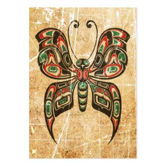 Mariposa roja y verde rasguñada del alcohol del tarjetas de visita grandes