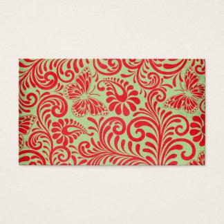 Mariposa roja y verde tarjeta de negocios