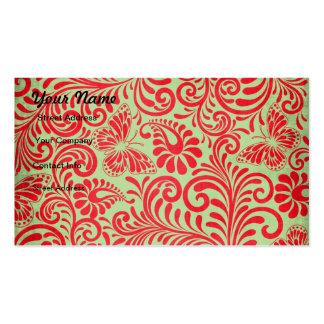 Mariposa roja y verde tarjetas de visita