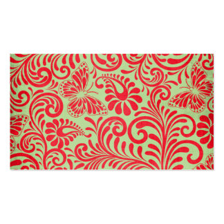 Mariposa roja y verde tarjeta de visita