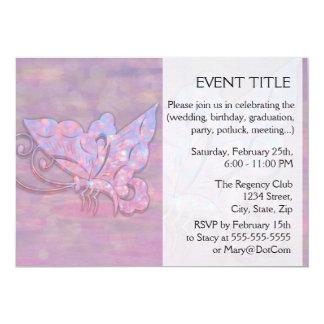 Mariposa rosada de Bokeh Invitación 12,7 X 17,8 Cm