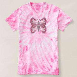 Mariposa rosada del remiendo camiseta