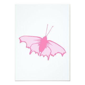 Mariposa rosada invitación 12,7 x 17,8 cm