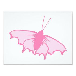 Mariposa rosada invitación 10,8 x 13,9 cm