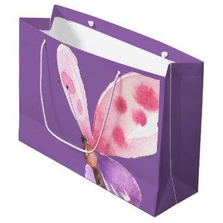 Mariposa rosada y púrpura de la acuarela bolsa de regalo grande