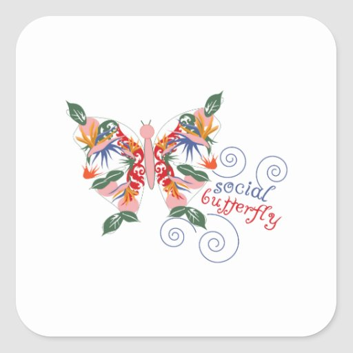 Mariposa social colcomanias cuadradas