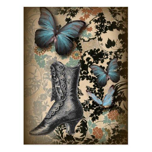 Mariposa sofisticada del zapato del cordón de Parí Tarjeta Postal