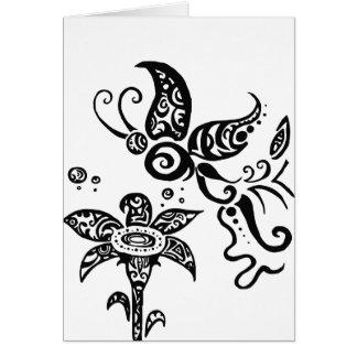 Mariposa tribal blanco y negro tarjeton