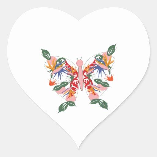 Mariposa tropical calcomanías de corazones personalizadas