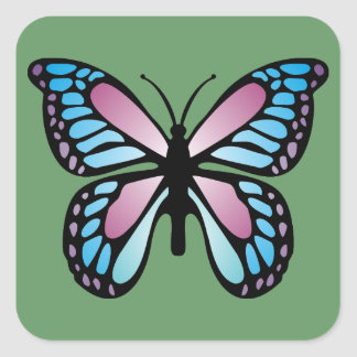 Mariposa viva pegatinas cuadradas personalizadas