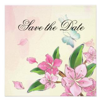 Mariposa y flores invitaciones personalizada