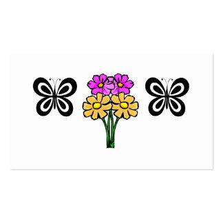 Mariposa y flores tarjetas de visita