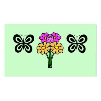 Mariposa y flores tarjeta de negocio