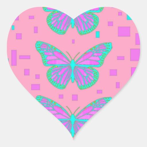 Mariposas azules de la fiesta de bienvenida al beb calcomania de corazon