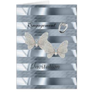 Mariposas azules del anillo de la plata del tarjeta pequeña