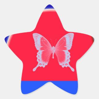 mariposas azules del fondo pegatina en forma de estrella