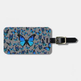 mariposas azules - etiqueta del equipaje