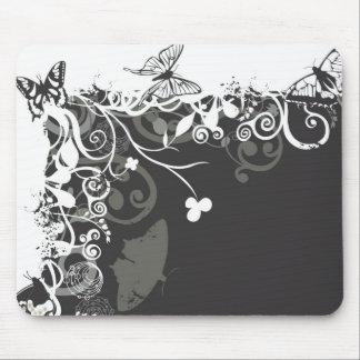 Mariposas blancos y negros Mousepad Alfombrilla De Ratón
