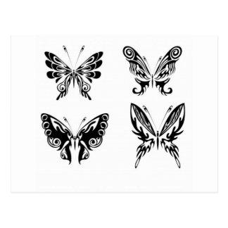 Mariposas blancos y negros postal