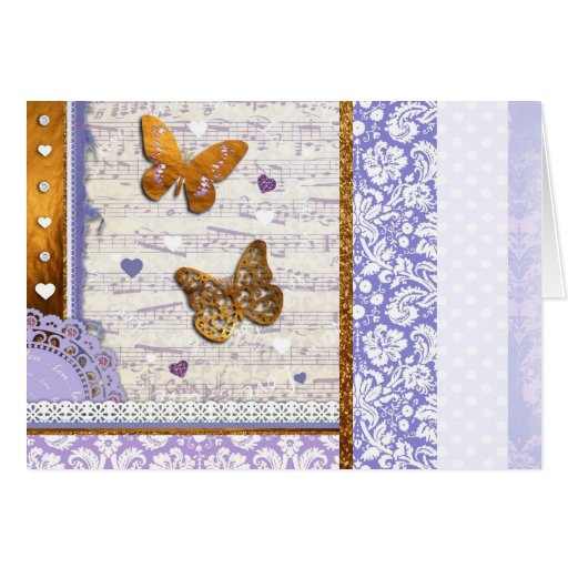 Mariposas bonitas de la púrpura y del oro y collag tarjeta