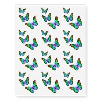 Mariposas coloridas del arco iris tatuajes temporales