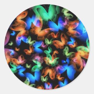 Mariposas coloridas pegatina redonda
