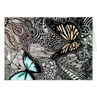 Mariposas con diseño blanco y negro tarjeta de felicitación