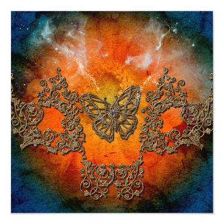 Mariposas decorativas maravillosas invitación 13,3 cm x 13,3cm