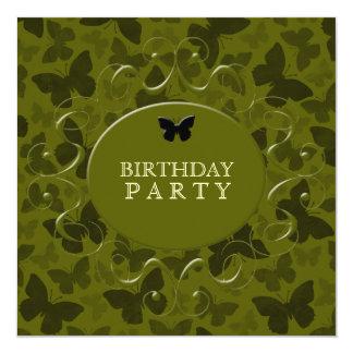 Mariposas del camuflaje invitación 13,3 cm x 13,3cm