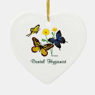 Mariposas del higienista dental adorno navideño de cerámica en forma de corazón