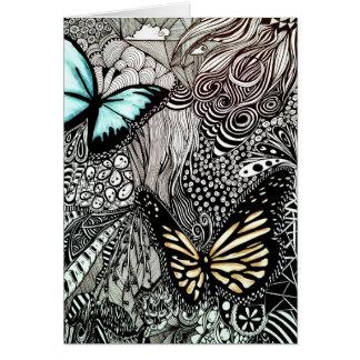 Mariposas en diseño blanco y negro tarjeta de felicitación