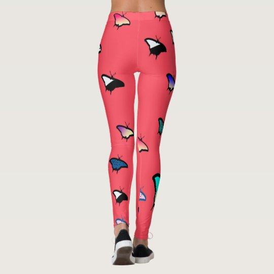 Mariposas en las polainas rosadas anaranjadas leggings