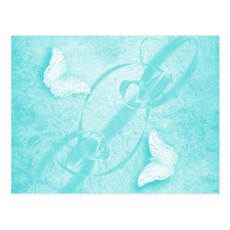 mariposas en postal horizontal azul abstracta