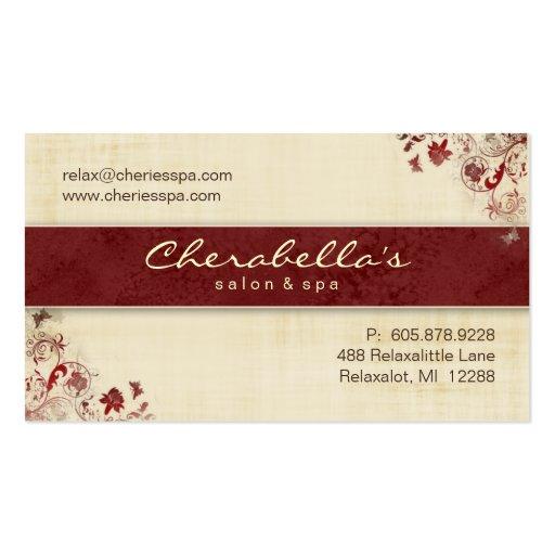 Mariposas florales C roja de la tarjeta de visita