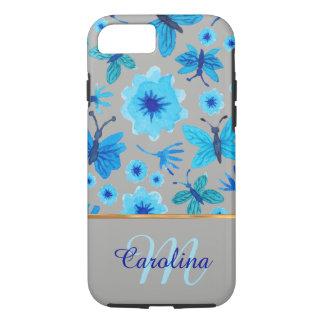 Mariposas florales grises y azules, &Monogram Funda iPhone 7