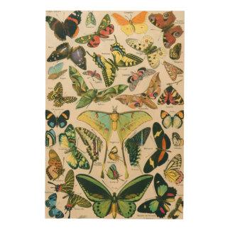 Mariposas hermosas impresión en madera