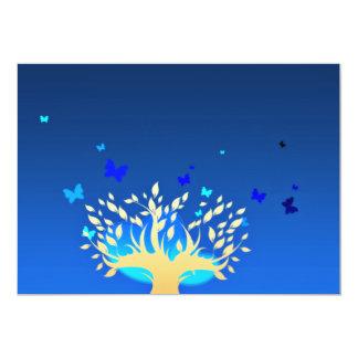 Mariposas hermosas y árbol amarillo invitación 12,7 x 17,8 cm
