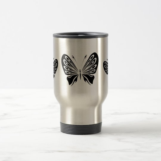 Mariposas negras delicadas taza de viaje