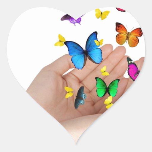 mariposas pegatina corazon personalizadas