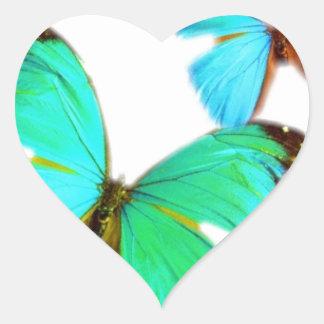 ¡mariposas! pegatina en forma de corazón