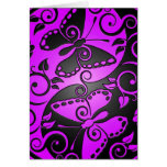 Mariposas, púrpura y negro de Yin Yang Tarjeton