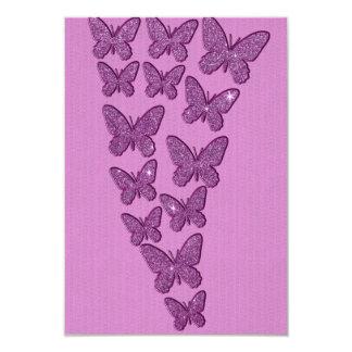 Mariposas púrpuras del brillo de Lavendar Invitación 8,9 X 12,7 Cm