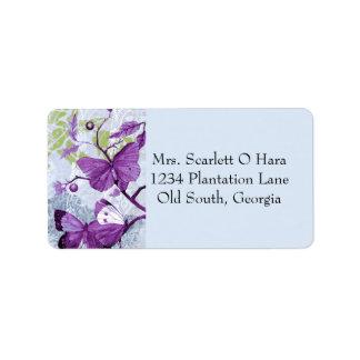 Mariposas púrpuras en una rama etiquetas de dirección